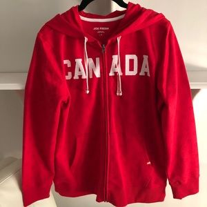 "NWOT JoeFresh zip-up ""CANADA"" hoodie, cotton blend"